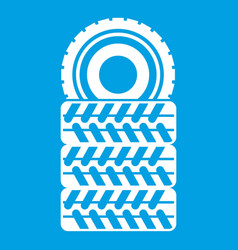 pile of tires icon white vector image