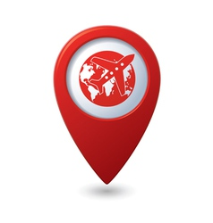 Plane AND globe RED pointer vector