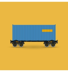 Platform with Blue Container Isolated vector image