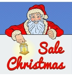 Pop Art Santa Claus with Christmas Sale Banner vector image