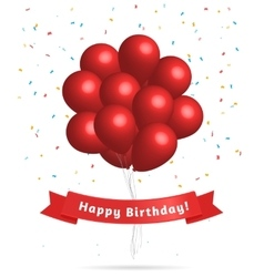 Realistic red balloons Birthday background vector image vector image