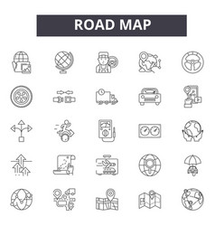 road map line icons signs set outline vector image