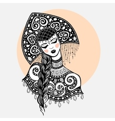 Russian traditional beauty girl vector