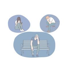 Sadness stress loneliness mental depression vector
