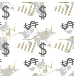 Seamless pattern dollar and chart vector image