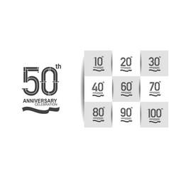 Set anniversary logo style with black premium vector