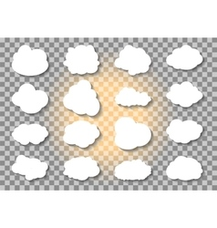 set different cloud and sun on transparent vector image