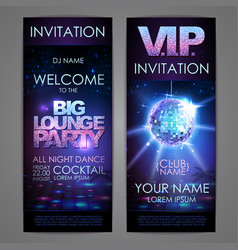Set of disco background banners big lounge party vector