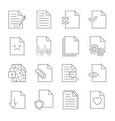 set of document flow management line icons vector image