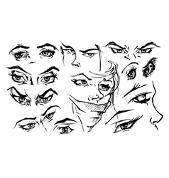 Set of female eyes vector image