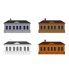 Set of houses in different colours vector