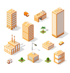 set of isometric skyscrapers vector image