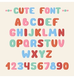 Simple colorful hand drawn font Complete abc vector image