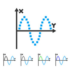 Sinusoid plot flat icon vector