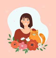 smiling brunette female character with cute cat vector image