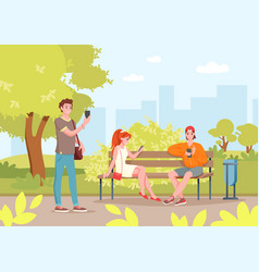 summer city park with people cartoon young vector image