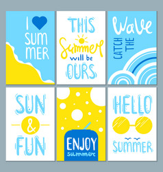 summertime cards set with cute lettering vector image