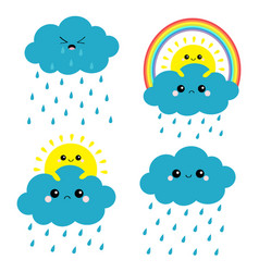 sun cloud rainbow rain set smiling sad face rain vector image