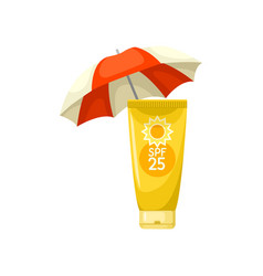 sunscreen lotion tube and beach umbrella skin vector image