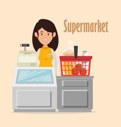 Supermarket seller woman character vector