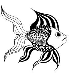 Tangle Patterns stylized Fish vector