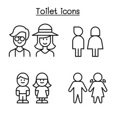 toilet icon set in thin line style vector image