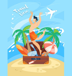 travel time banner happy man in swimming shorts vector image