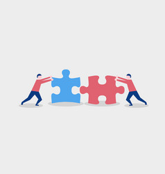 two flat style people connecting puzzle elements vector image