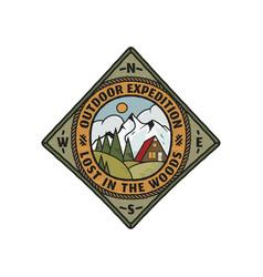 wanderlust logo emblem vintage hand drawn travel vector image