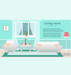website banner of living room interior with vector image