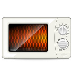 white plastic microwave oven mechanical control vector image