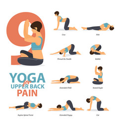 Yoga poses for upper back pains in flat design vector