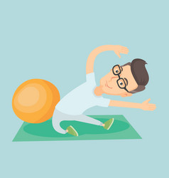 Young man exercising with fitball vector