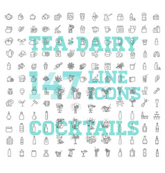 147 drinks thin icon set vector