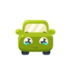 Begging Green Car Emoji vector image vector image