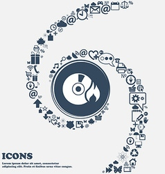CD icon in the center Around the many beautiful vector image vector image