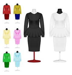 Female plain suit and skirt template set vector image vector image