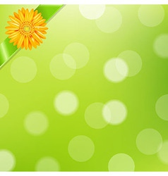 Green Nature Background With Yellow Gerbers And vector image
