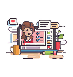 blogger girl writes articles and videos vector image vector image
