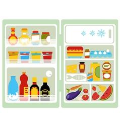 Open fridge with food vector image vector image