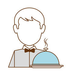 restaurant waiter with tray avatar character vector image