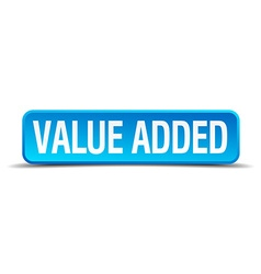 value added blue 3d realistic square isolated vector image vector image