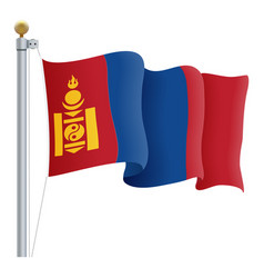 waving mongolia flag isolated on a white vector image