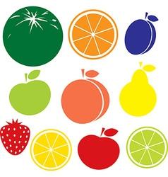 fruit icon - apple peach lemon orange strawberry vector image vector image
