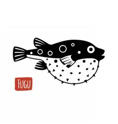 Fugu black and white vector image