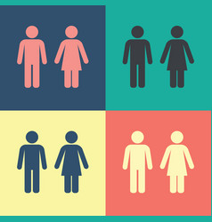 male female wc icon set vector image