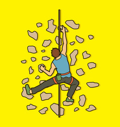 man climbing on the wall hiking indoor vector image