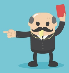 concept the big boss raised red card for out work vector image