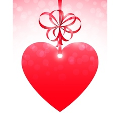 Red Heart and Bow vector image vector image