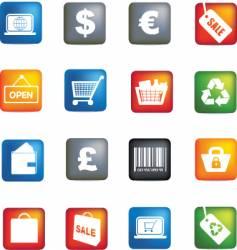 retail icon set vector image vector image